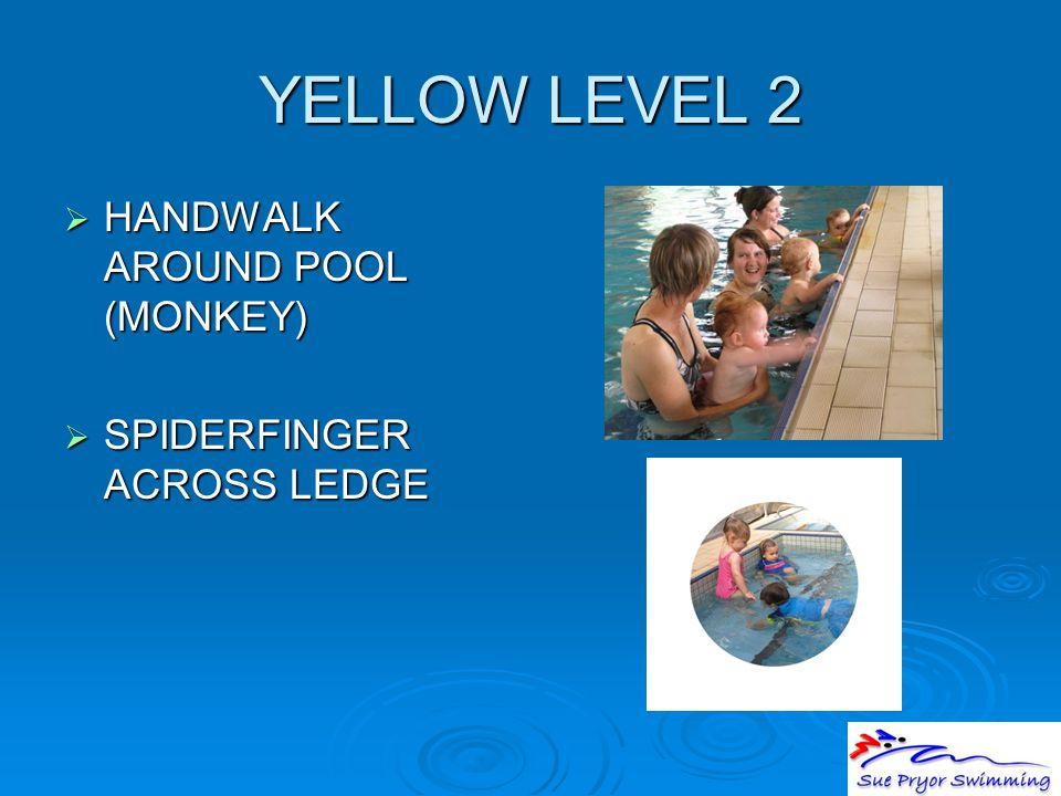 YELLOW LEVEL 2  HANDWALK AROUND POOL (MONKEY)  SPIDERFINGER ACROSS LEDGE