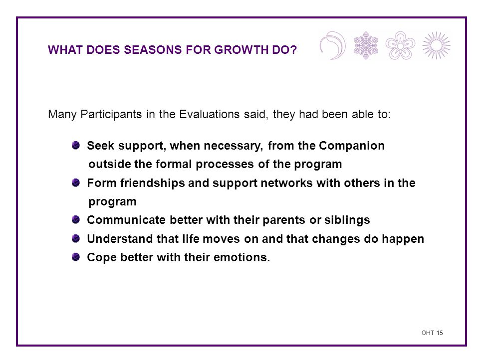 WHAT DOES SEASONS FOR GROWTH DO? Many Participants in the Evaluations said, they had been able to: Seek support, when necessary, from the Companion ou
