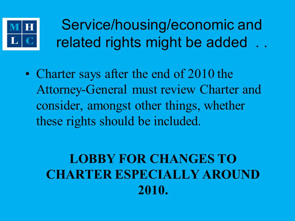 Service/housing/economic and related rights might be added..