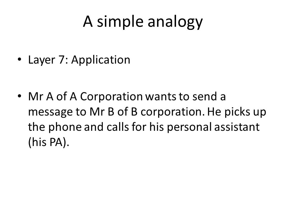 A simple analogy Layer 7: Application Mr A of A Corporation wants to send a message to Mr B of B corporation.