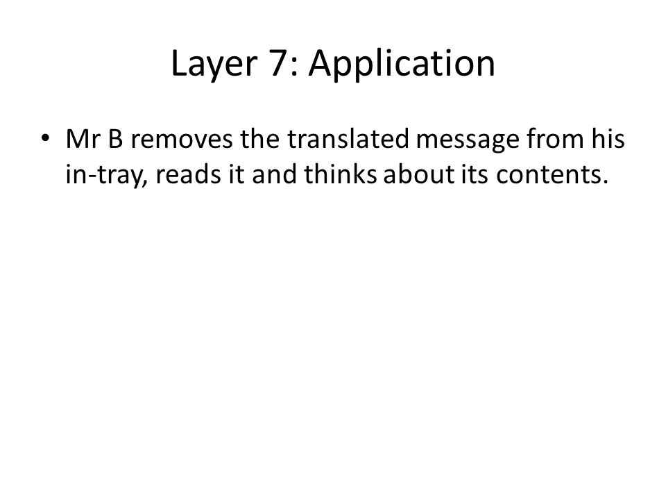 Layer 7: Application Mr B removes the translated message from his in-tray, reads it and thinks about its contents.