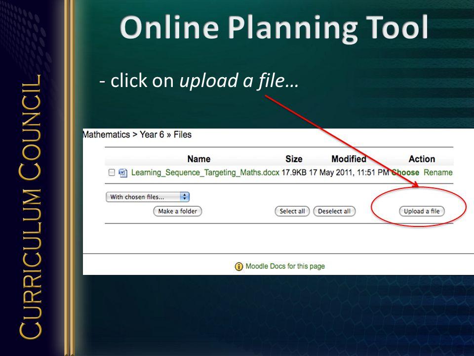 - click on upload a file…