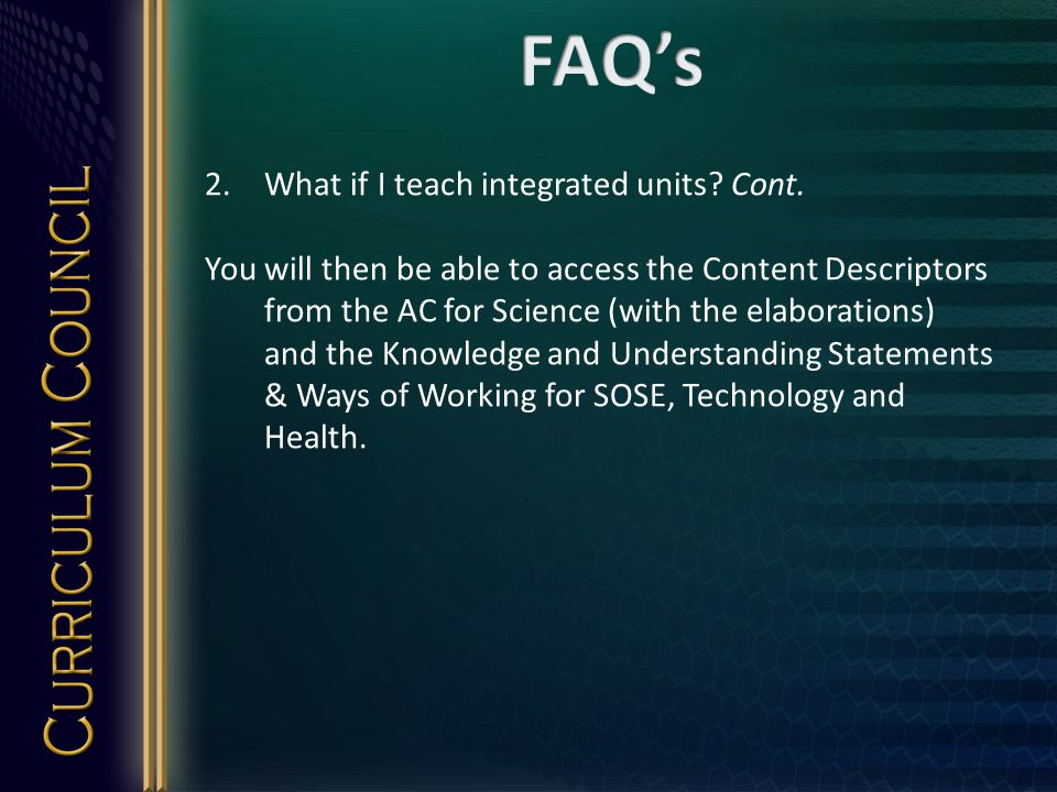 2.What if I teach integrated units. Cont.