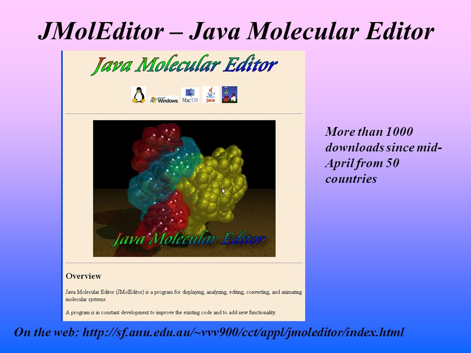 JMolEditor – Java Molecular Editor On the web: http://sf.anu.edu.au/~vvv900/cct/appl/jmoleditor/index.html More than 1000 downloads since mid- April from 50 countries