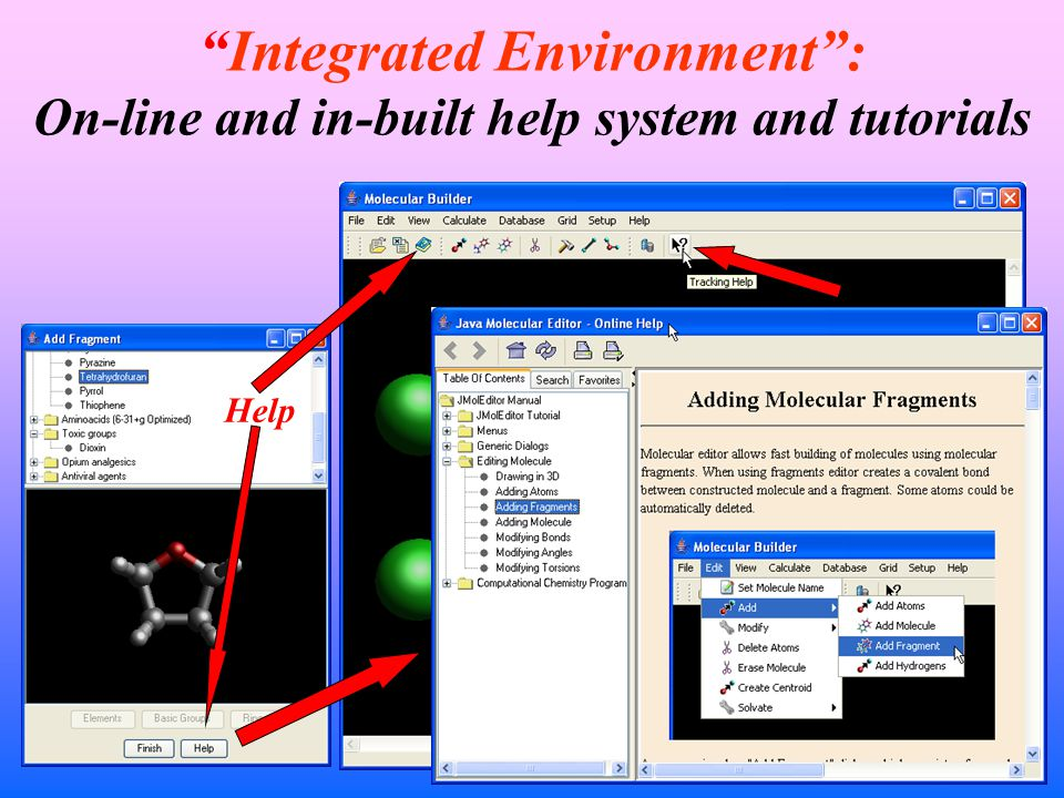 Integrated Environment : On-line and in-built help system and tutorials Tracking Help Help