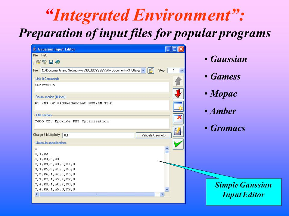 Integrated Environment : Preparation of input files for popular programs Simple Gaussian Input Editor Gaussian Gamess Mopac Amber Gromacs