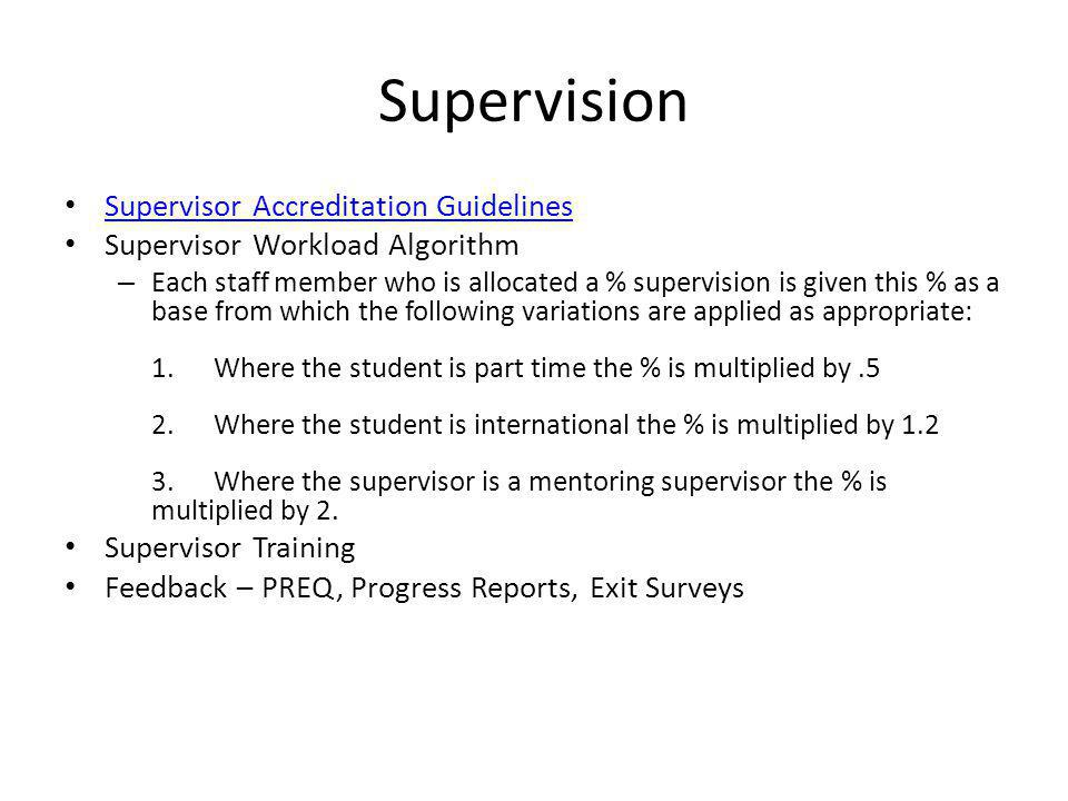 Supervision Supervisor Accreditation Guidelines Supervisor Workload Algorithm – Each staff member who is allocated a % supervision is given this % as a base from which the following variations are applied as appropriate: 1.