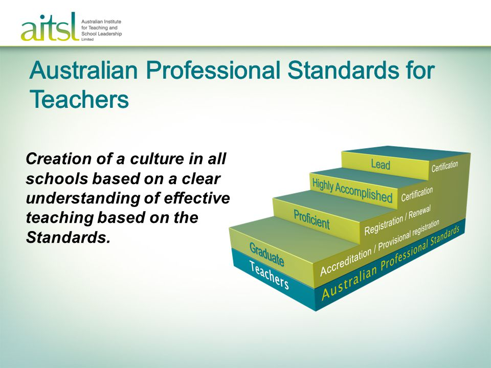 Creation of a culture in all schools based on a clear understanding of effective teaching based on the Standards.