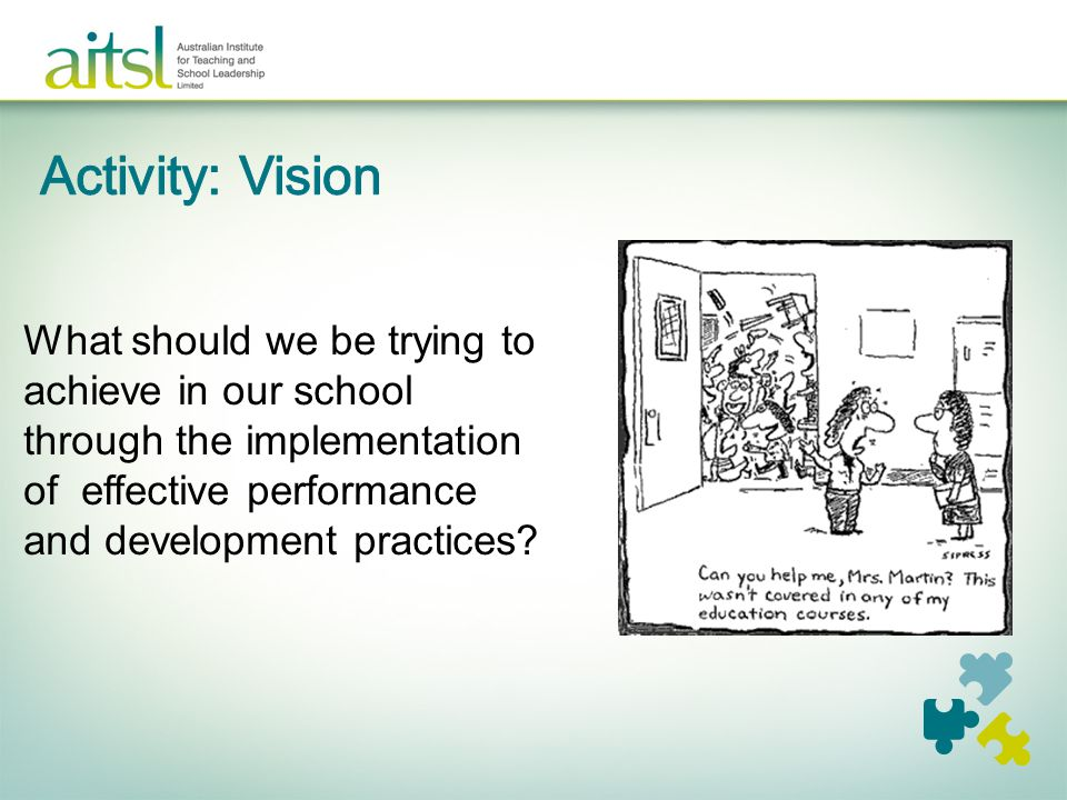 What should we be trying to achieve in our school through the implementation of effective performance and development practices?