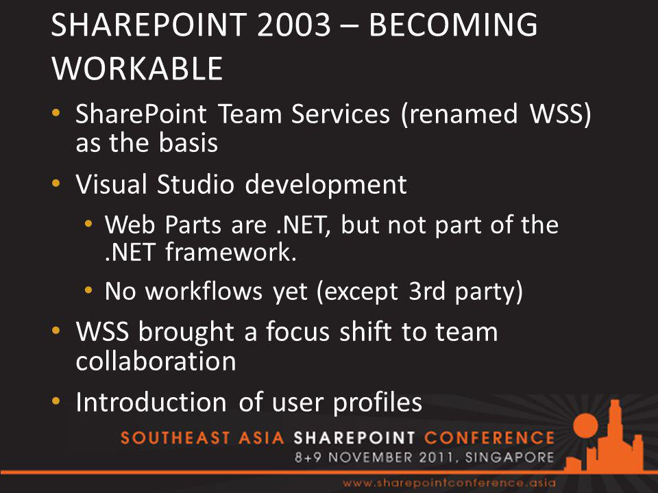 SHAREPOINT 2003 – BECOMING WORKABLE SharePoint Team Services (renamed WSS) as the basis Visual Studio development Web Parts are.NET, but not part of the.NET framework.