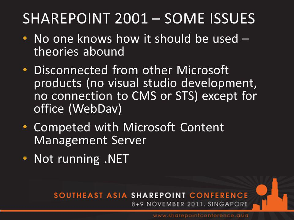 SHAREPOINT 2001 – SOME ISSUES No one knows how it should be used – theories abound Disconnected from other Microsoft products (no visual studio development, no connection to CMS or STS) except for office (WebDav) Competed with Microsoft Content Management Server Not running.NET