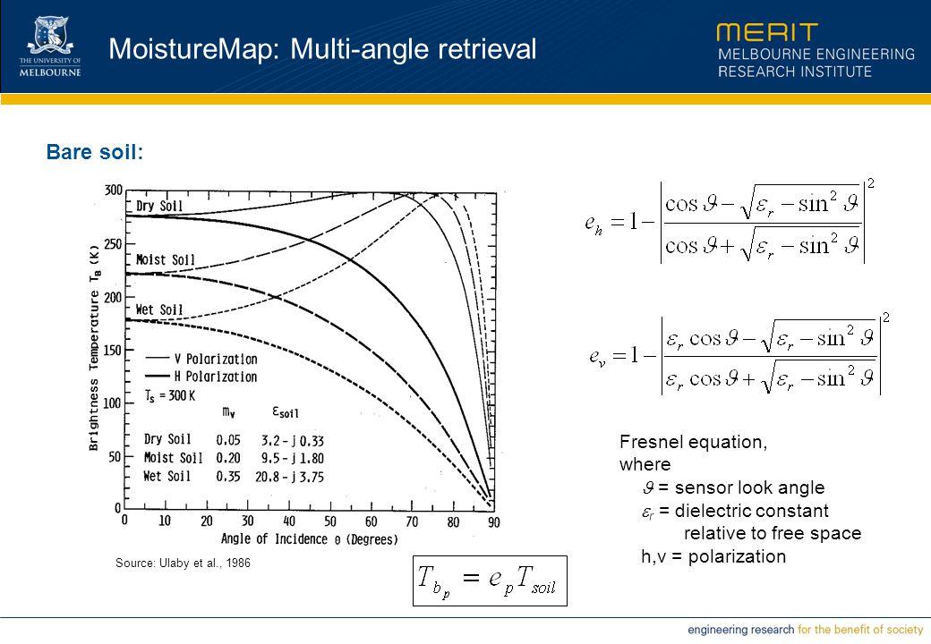 MoistureMap: Multi-angle retrieval Bare soil: Source: Ulaby et al., 1986 Fresnel equation, where = sensor look angle  r = dielectric constant relativ