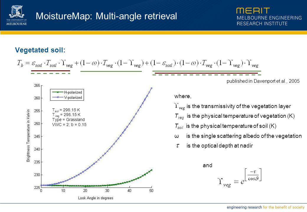 MoistureMap: Multi-angle retrieval Vegetated soil: where, is the transmissivity of the vegetation layer T veg is the physical temperature of vegetatio