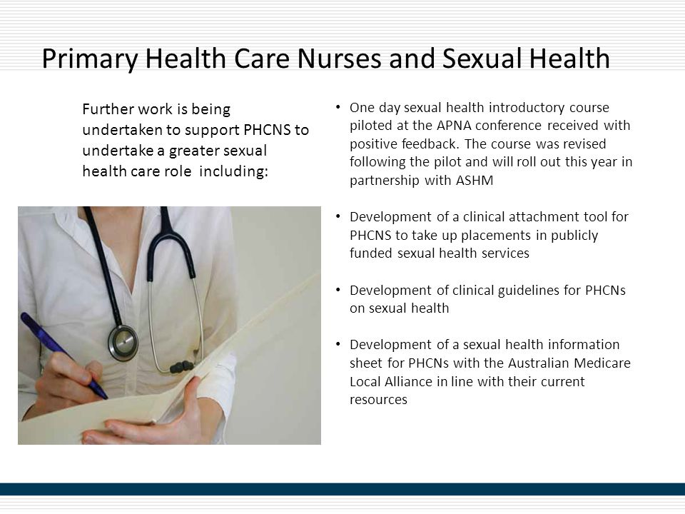 Primary Health Care Nurses and Sexual Health One day sexual health introductory course piloted at the APNA conference received with positive feedback.