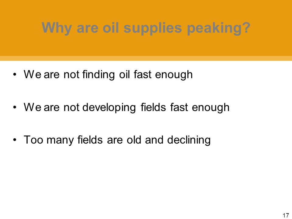 17 Why are oil supplies peaking.