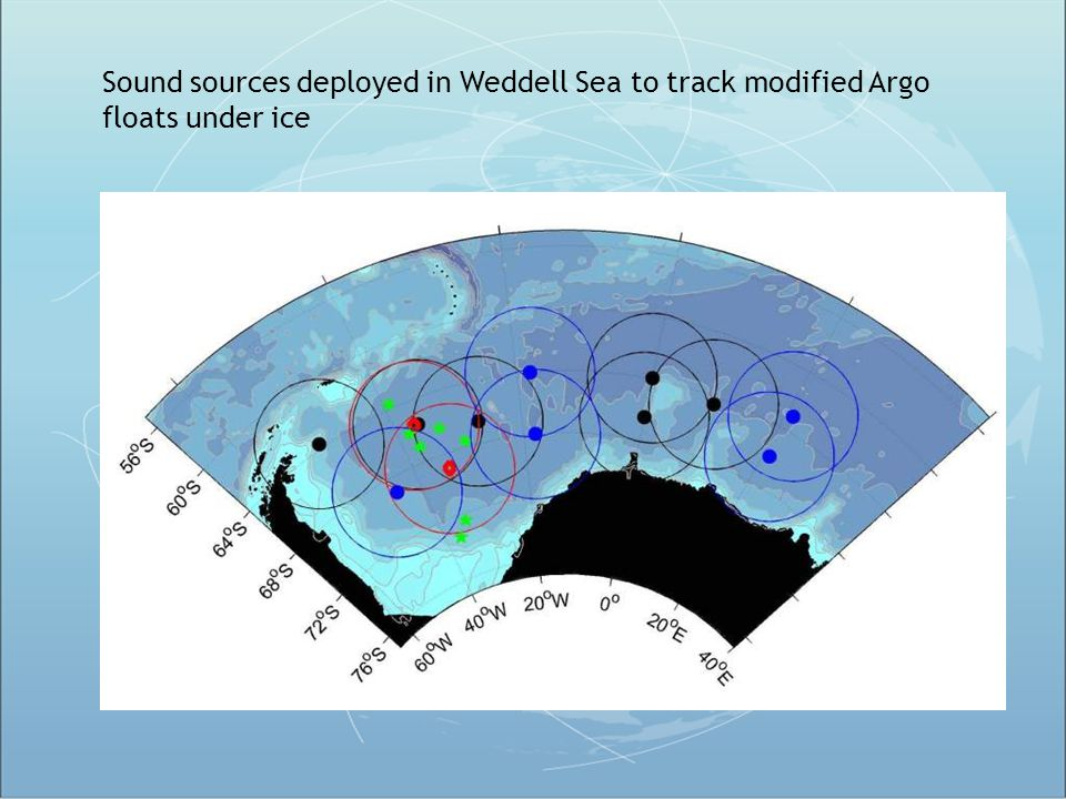 Sound sources deployed in Weddell Sea to track modified Argo floats under ice