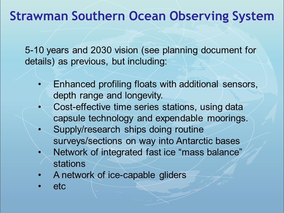Strawman Southern Ocean Observing System 5-10 years and 2030 vision (see planning document for details) as previous, but including: Enhanced profiling