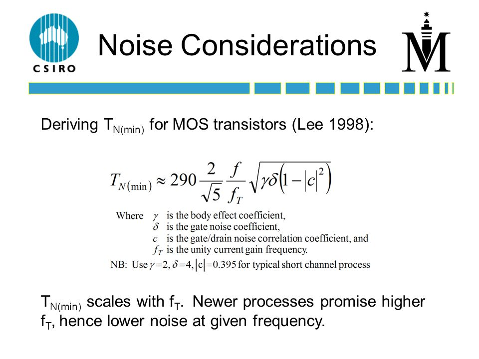 Noise Considerations T N(min) scales with f T.
