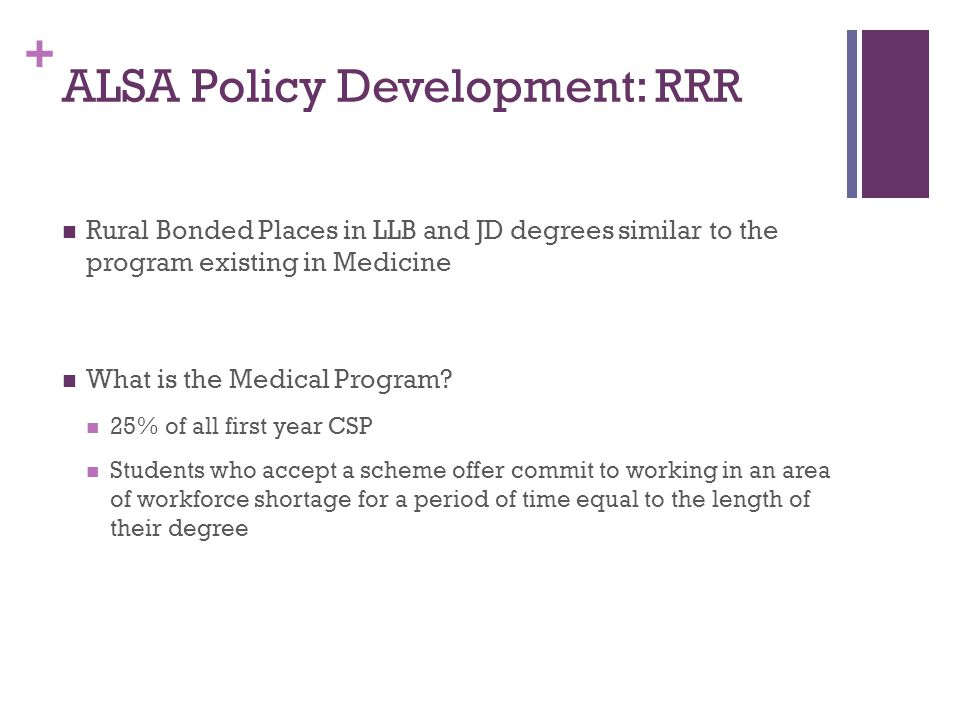 + ALSA Policy Development: RRR Rural Bonded Places in LLB and JD degrees similar to the program existing in Medicine What is the Medical Program.