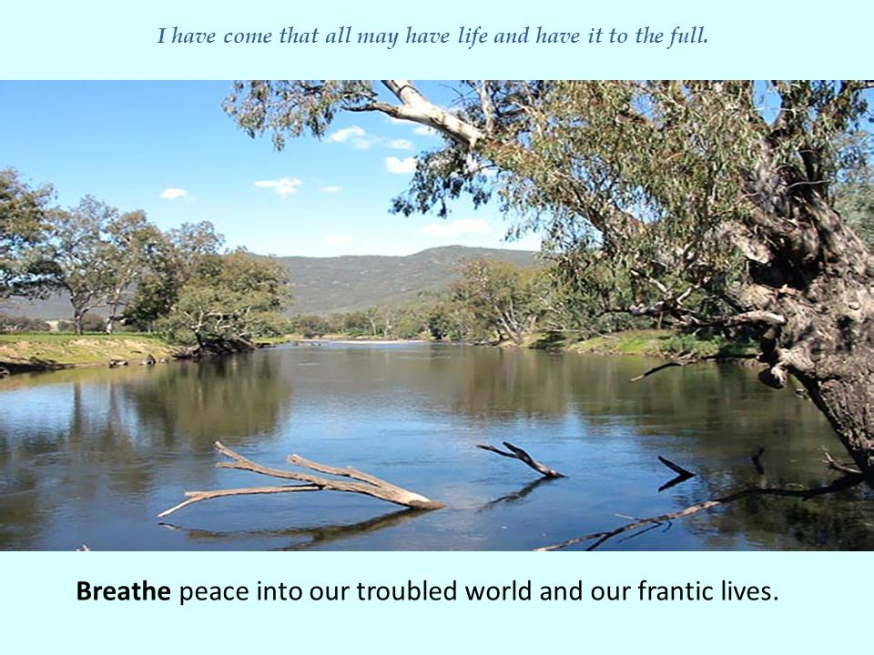 Breathe peace into our troubled world and our frantic lives.