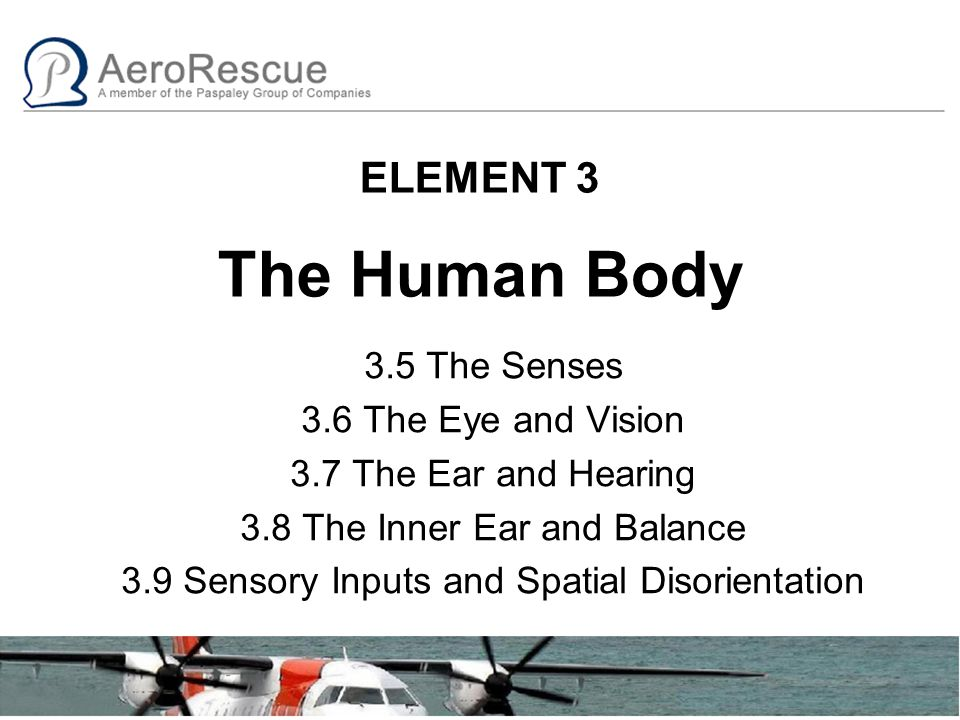 ELEMENT 3 The Human Body 3.5 The Senses 3.6 The Eye and Vision 3.7 The Ear and Hearing 3.8 The Inner Ear and Balance 3.9 Sensory Inputs and Spatial Disorientation