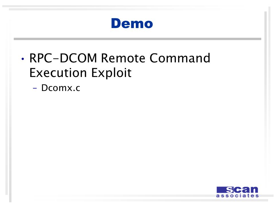 Demo RPC-DCOM Remote Command Execution Exploit –Dcomx.c