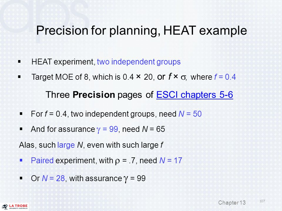 Precision for planning, HEAT example  HEAT experiment, two independent groups  Target MOE of 8, which is 0.4 × 20, or f × , where f = 0.4 Three Pre