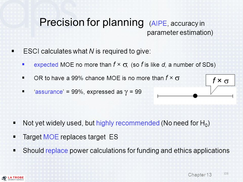 Precision for planning (AIPE, accuracy in parameter estimation)  ESCI calculates what N is required to give:  expected MOE no more than f × , (so f