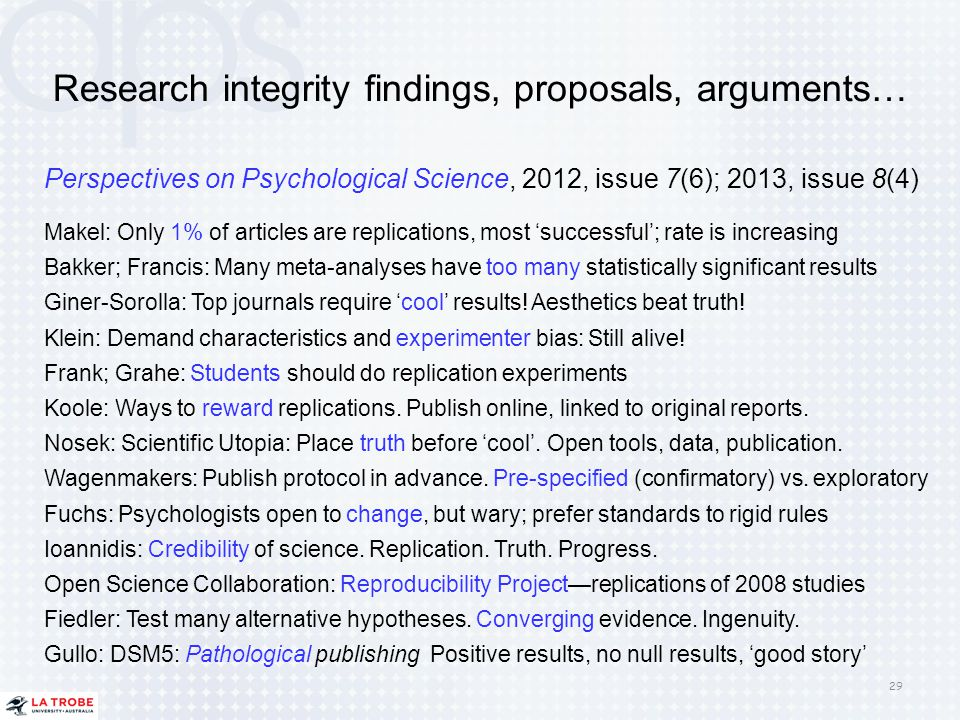 Research integrity findings, proposals, arguments… Perspectives on Psychological Science, 2012, issue 7(6); 2013, issue 8(4) Makel: Only 1% of article