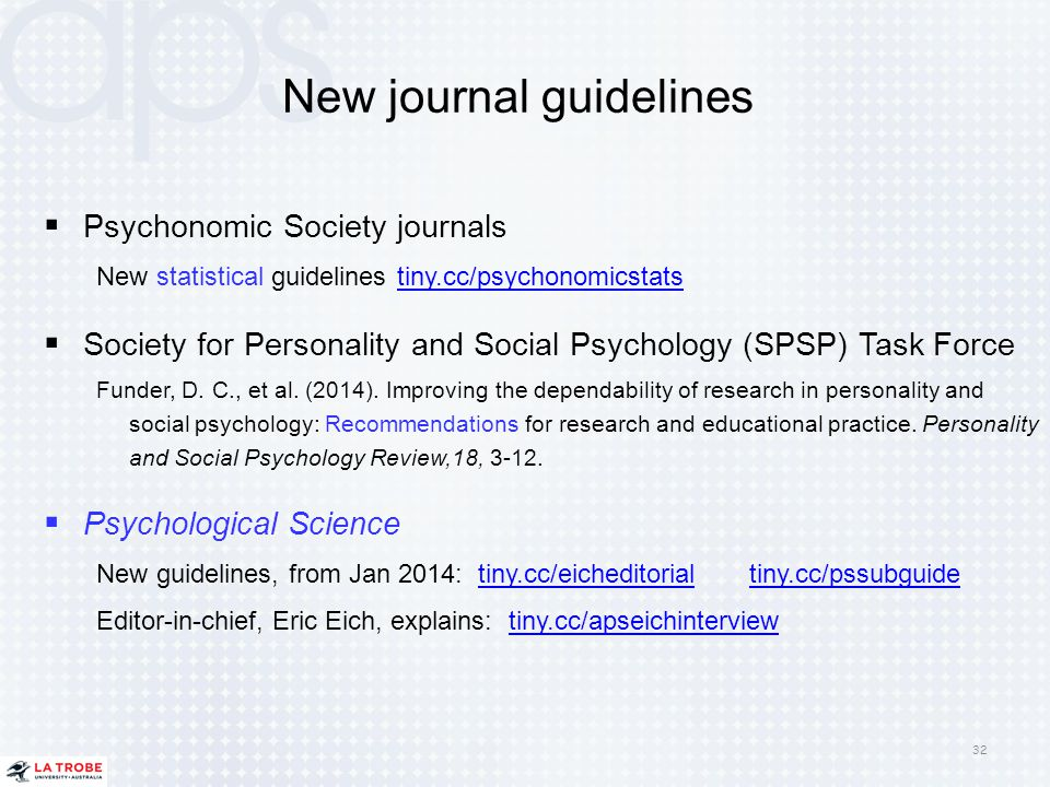 New journal guidelines  Psychonomic Society journals New statistical guidelines tiny.cc/psychonomicstatstiny.cc/psychonomicstats  Society for Person
