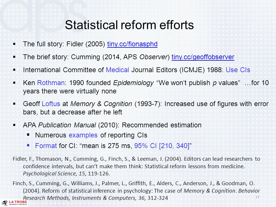 Statistical reform efforts  The full story: Fidler (2005) tiny.cc/fionasphdtiny.cc/fionasphd  The brief story: Cumming (2014, APS Observer) tiny.cc/