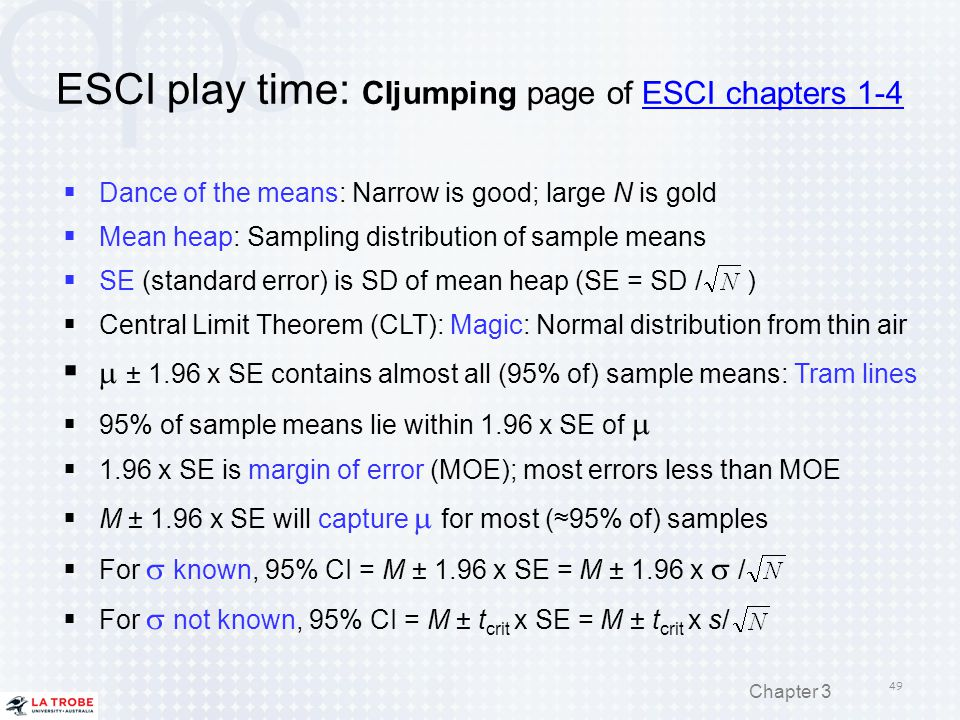 ESCI play time: CIjumping page of ESCI chapters 1-4ESCI chapters 1-4  Dance of the means: Narrow is good; large N is gold  Mean heap: Sampling distr