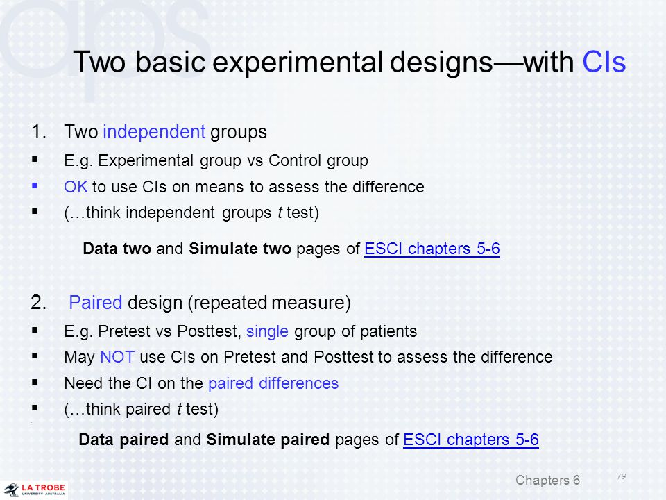 Two basic experimental designs—with CIs 1. Two independent groups  E.g. Experimental group vs Control group  OK to use CIs on means to assess the di