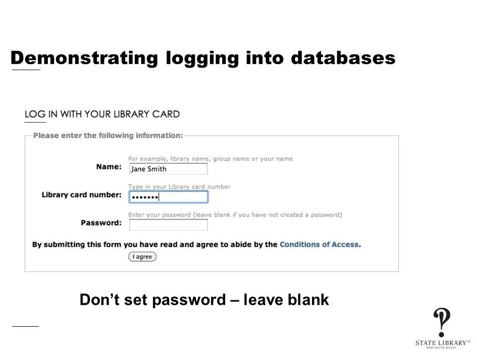 Demonstrating logging into databases Don't set password – leave blank