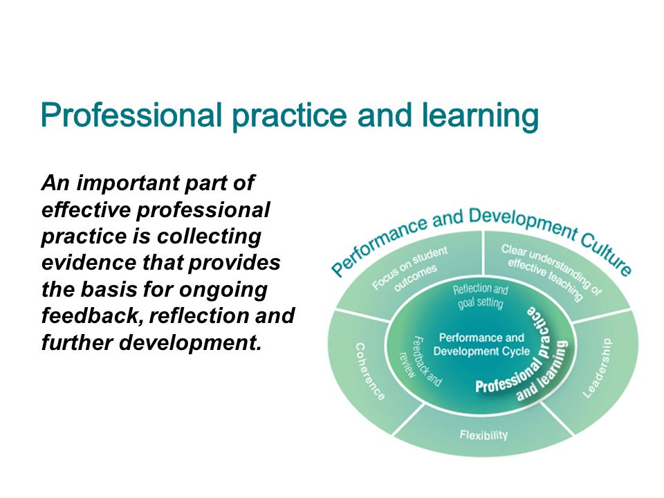 An important part of effective professional practice is collecting evidence that provides the basis for ongoing feedback, reflection and further devel