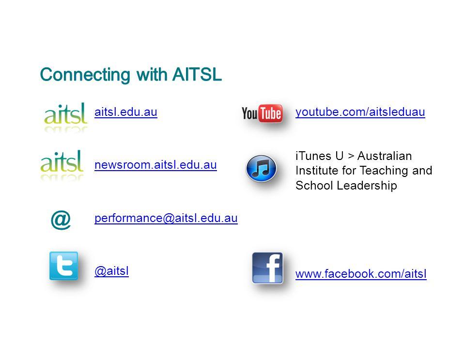 aitsl.edu.au newsroom.aitsl.edu.au performance@aitsl.edu.au @aitsl youtube.com/aitsleduau iTunes U > Australian Institute for Teaching and School Lead