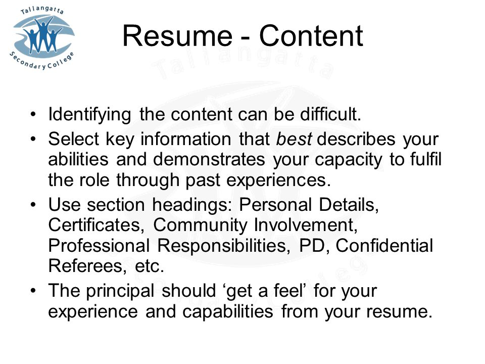 Resume - Content Identifying the content can be difficult.