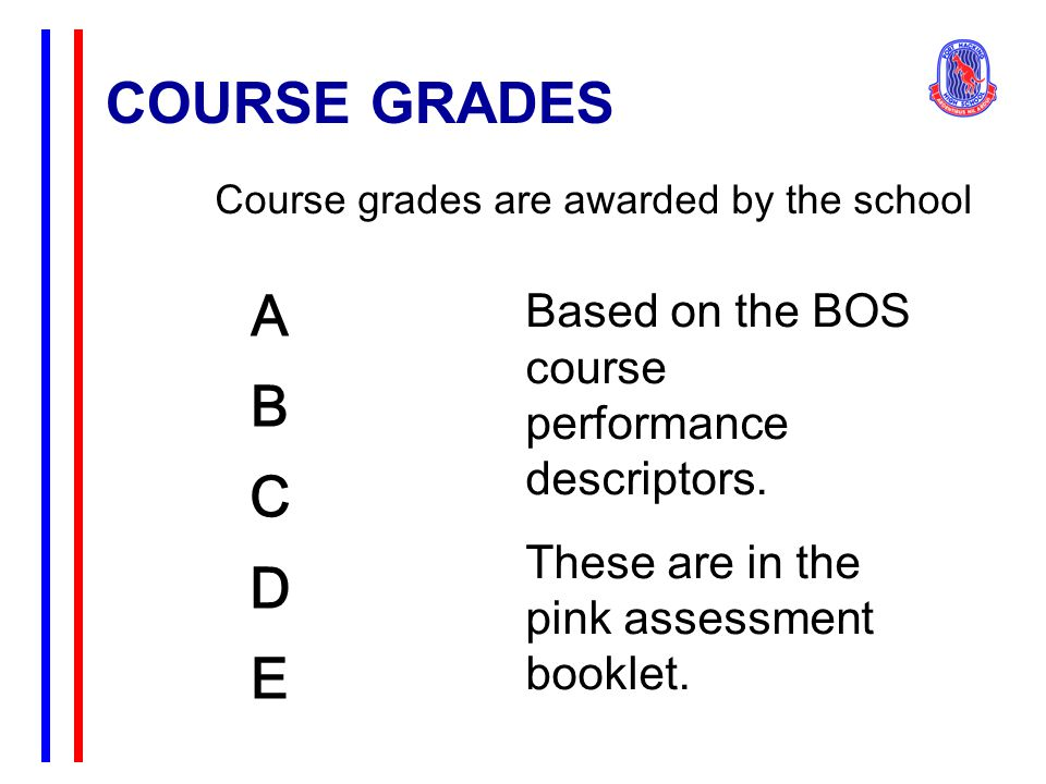 COURSE GRADES ABCDEABCDE Course grades are awarded by the school Based on the BOS course performance descriptors. These are in the pink assessment boo