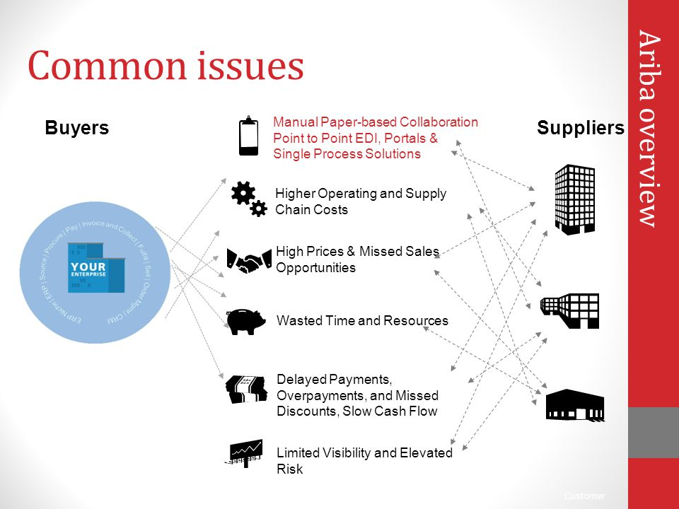 Customer Common issues Ariba overview Wasted Time and Resources Higher Operating and Supply Chain Costs High Prices & Missed Sales Opportunities Manua