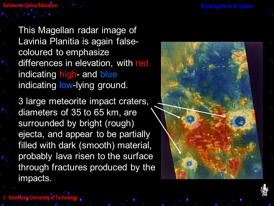 This Magellan radar image of Lavinia Planitia is again false- coloured to emphasize differences in elevation, with red indicating high- and blue indicating low-lying ground.