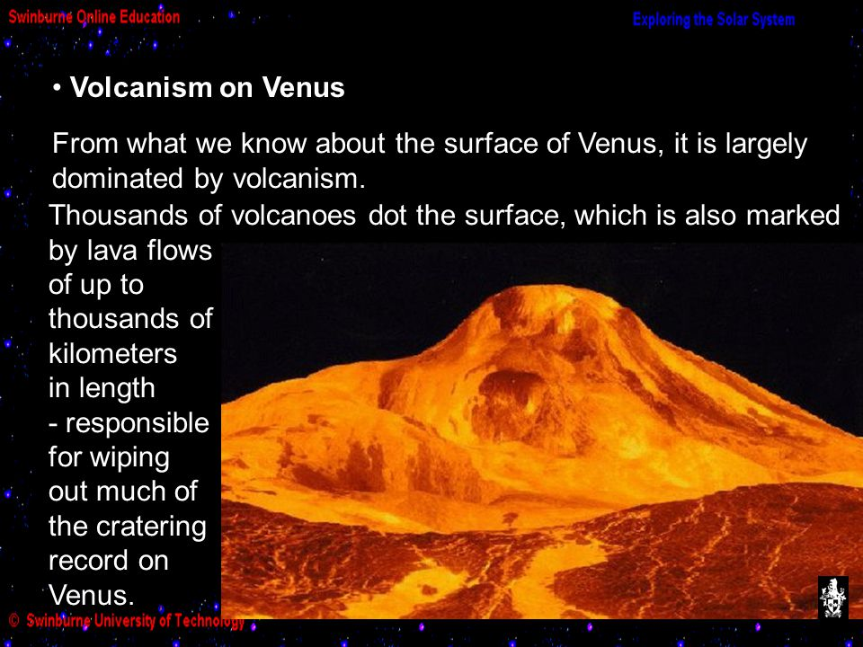 Volcanism on Venus From what we know about the surface of Venus, it is largely dominated by volcanism.