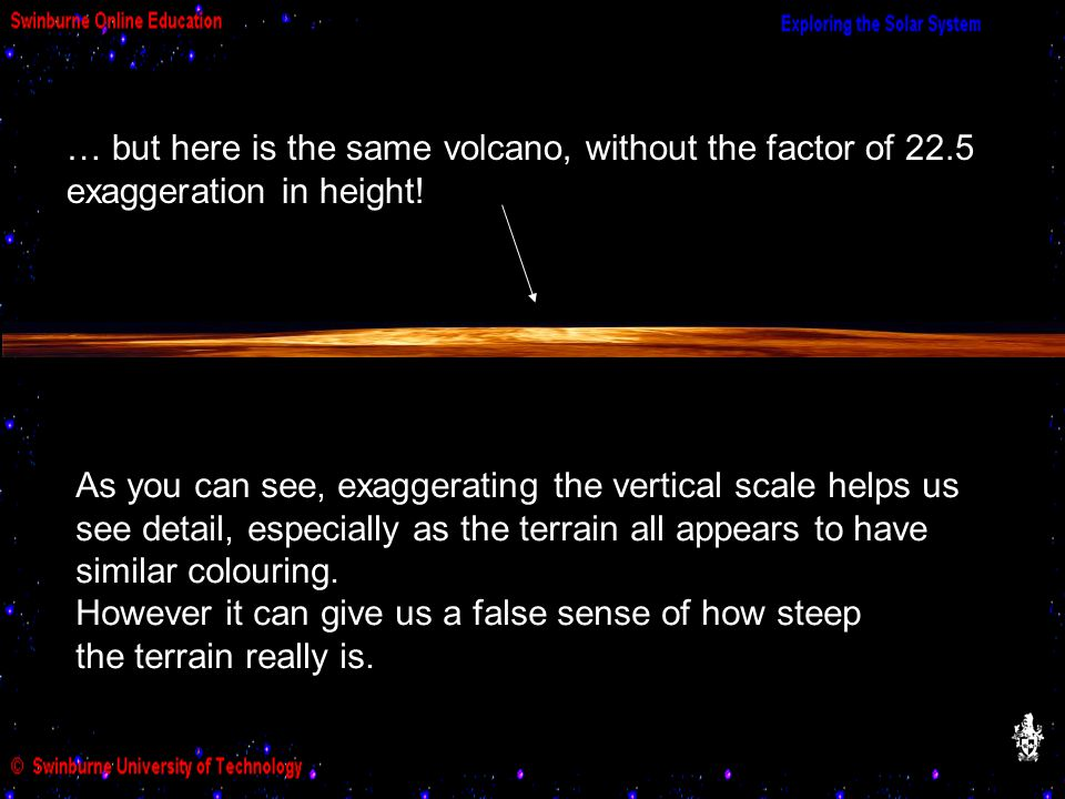 … but here is the same volcano, without the factor of 22.5 exaggeration in height.