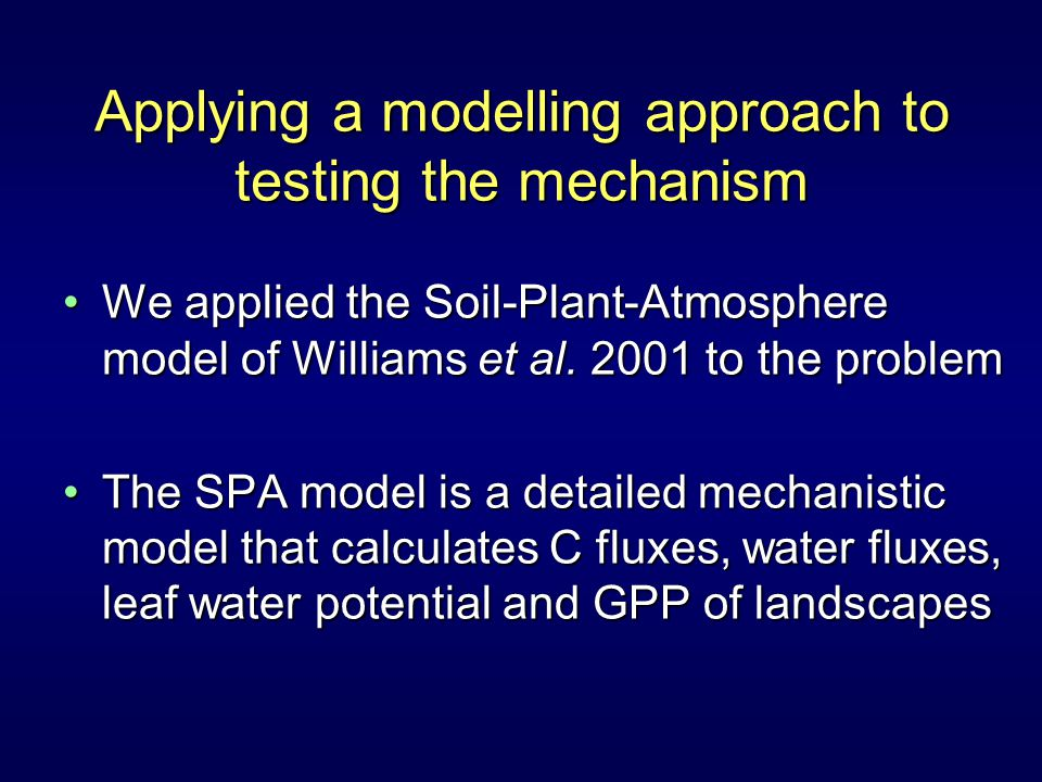 Applying a modelling approach to testing the mechanism We applied the Soil-Plant-Atmosphere model of Williams et al.