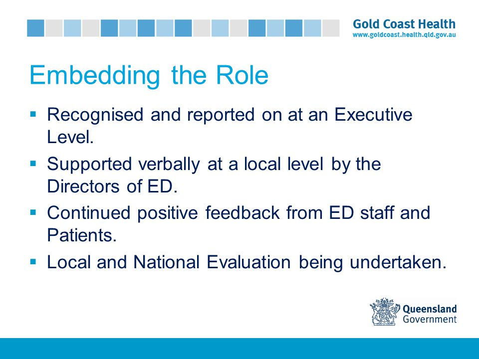 Embedding the Role  Recognised and reported on at an Executive Level.