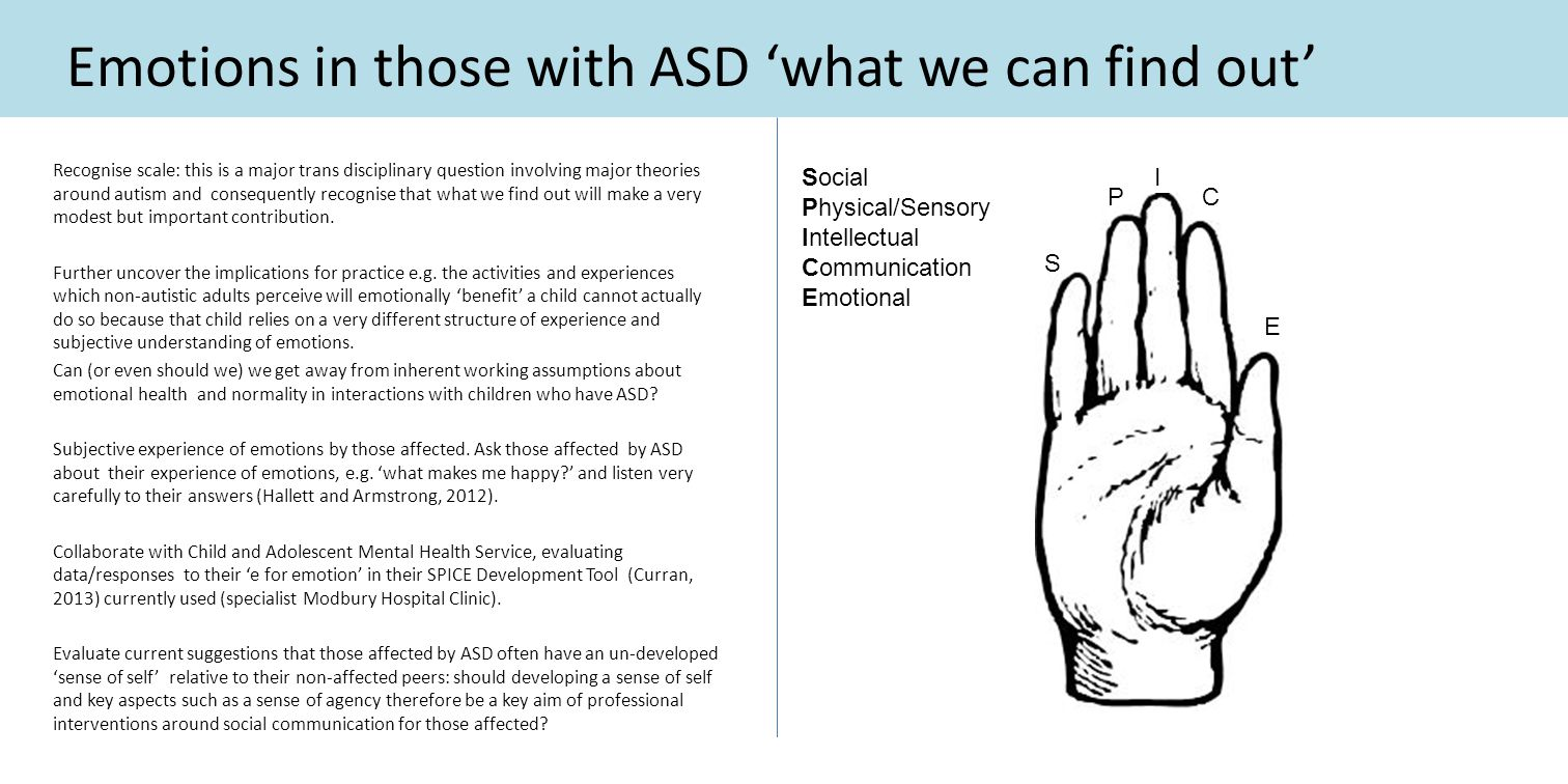 Emotions in those with ASD 'what we can find out' Recognise scale: this is a major trans disciplinary question involving major theories around autism and consequently recognise that what we find out will make a very modest but important contribution.