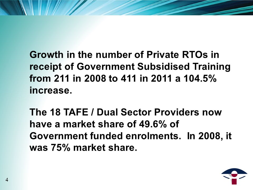 Growth in the number of Private RTOs in receipt of Government Subsidised Training from 211 in 2008 to 411 in 2011 a 104.5% increase.