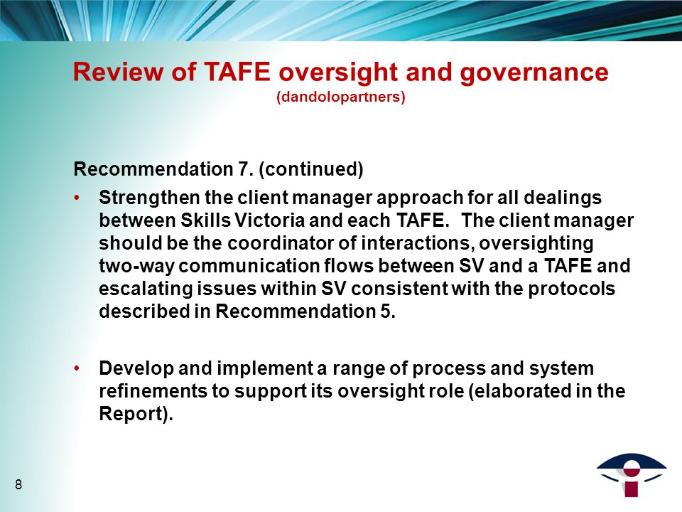 Review of TAFE oversight and governance (dandolopartners) Recommendation 7.