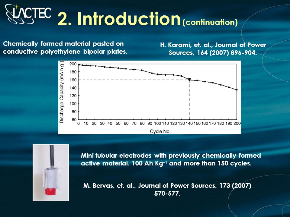 2. Introduction (continuation) Chemically formed material pasted on conductive polyethylene bipolar plates. H. Karami, et. al., Journal of Power Sourc