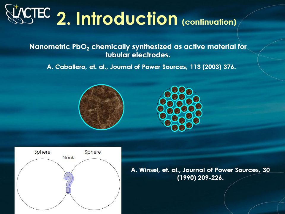 2. Introduction (continuation) Nanometric PbO 2 chemically synthesized as active material for tubular electrodes. A. Caballero, et. al., Journal of Po