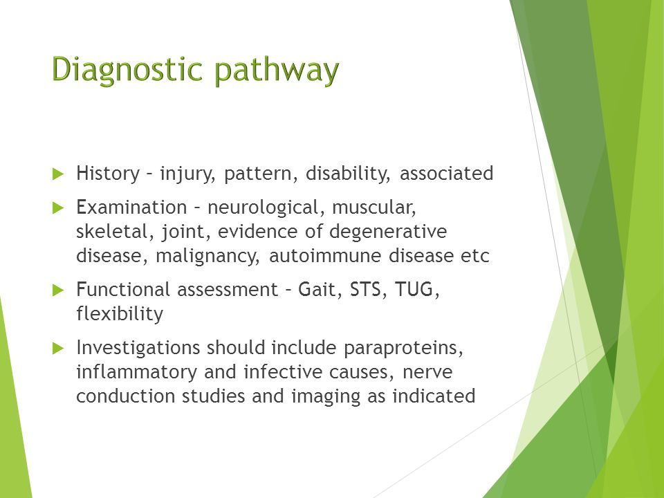  Degenerative osteopathies and discopathies  Spondyloarthopathies  Inflammatory causes including AID  Infective causes including discitis and abscess  Compressive causes including haematoma  Vascular including ischaemia and AVM  Myeloma and metastatic disease
